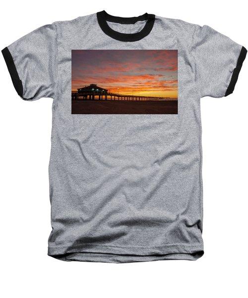 Pier At Sunrise Port Aransas Tx Baseball T-Shirt
