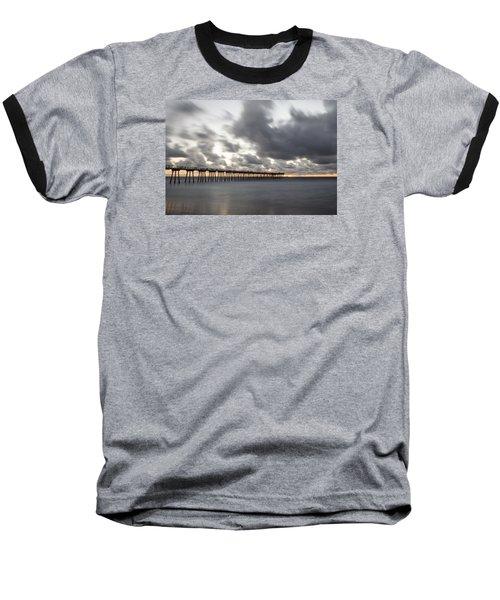 Pier In Misty Waters Baseball T-Shirt by Ed Clark
