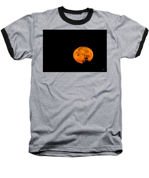 Baseball T-Shirt featuring the photograph Pierhead Supermoon Silhouette by Everet Regal