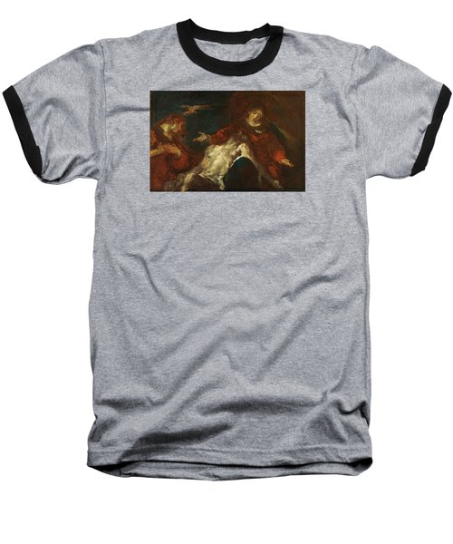 Baseball T-Shirt featuring the painting Pieta With Mary Magdalene by Giuseppe Bazzani