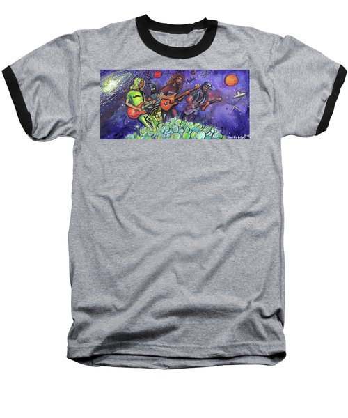 Baseball T-Shirt featuring the painting Pigeons Playing Ping Pong by David Sockrider