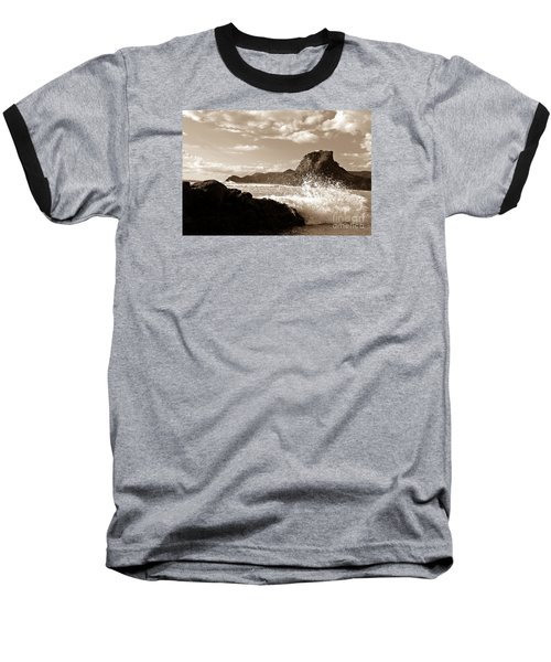 Baseball T-Shirt featuring the painting Piha New Zealand Waves by Yurix Sardinelly
