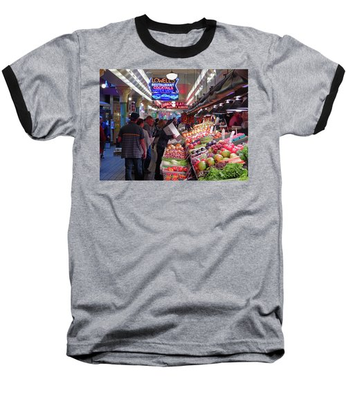 Baseball T-Shirt featuring the photograph Pike Market Fruit Stand by Walter Fahmy
