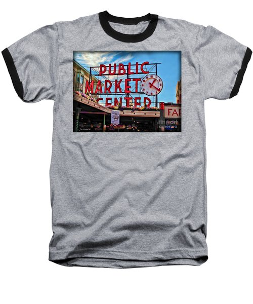 Pike Place Market Baseball T-Shirt by Joan  Minchak