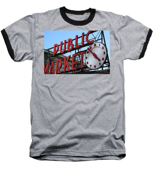 Pike Street Market Clock Baseball T-Shirt