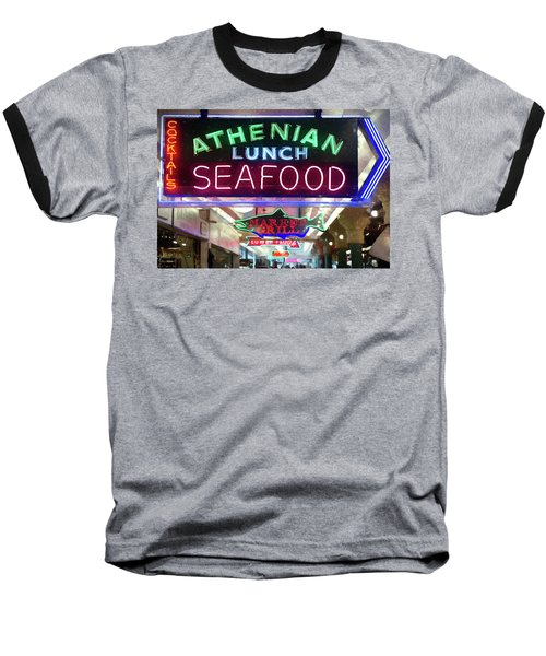 Pike Street Market Neon, Seattle Baseball T-Shirt by Greg Sigrist
