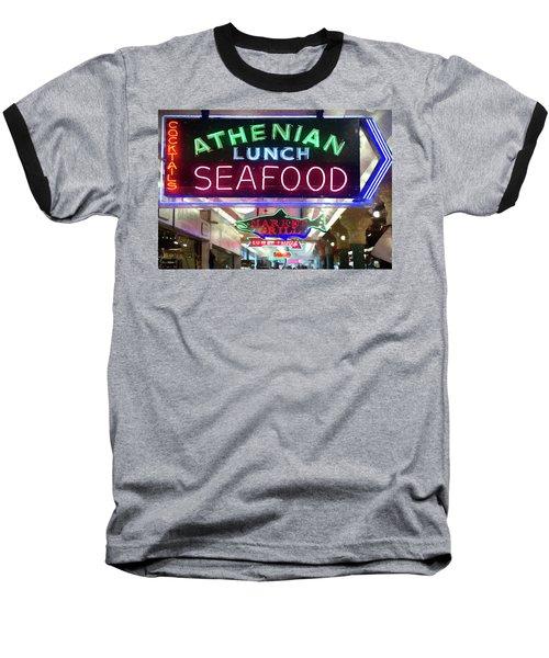 Pike Street Market Neon, Seattle Baseball T-Shirt