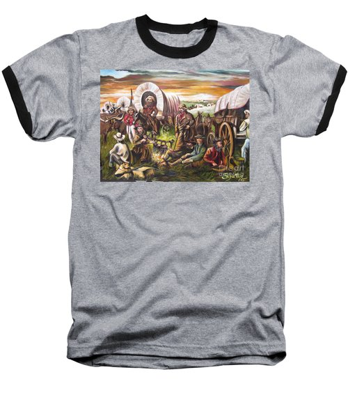 Baseball T-Shirt featuring the painting Pilgrims On The Plain by Sigrid Tune