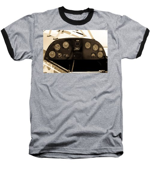 Baseball T-Shirt featuring the photograph Pilots Cockpit by Fran Riley