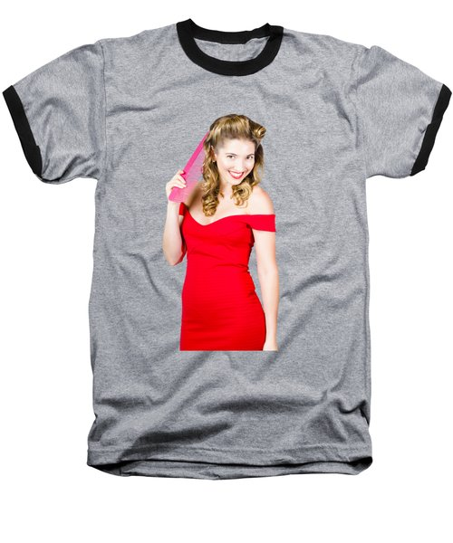 Pin-up Styled Fashion Model With Classic Hairstyle Baseball T-Shirt by Jorgo Photography - Wall Art Gallery