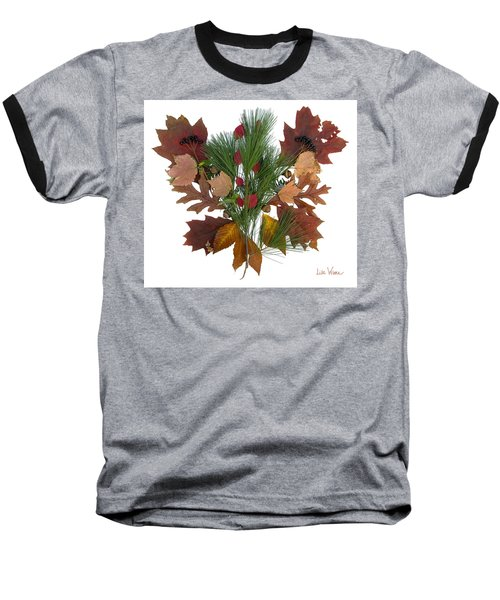 Pine And Leaf Bouquet Baseball T-Shirt by Lise Winne