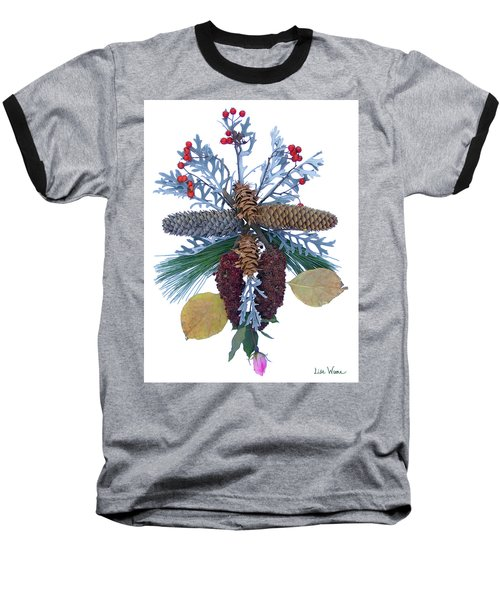 Baseball T-Shirt featuring the digital art Pine Cone Bouquet by Lise Winne