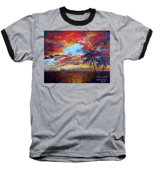 Baseball T-Shirt featuring the painting Pine Island Sunset by Lou Ann Bagnall