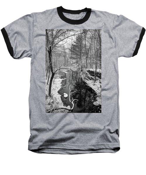 Pine Reflection On The Sheepscot Baseball T-Shirt