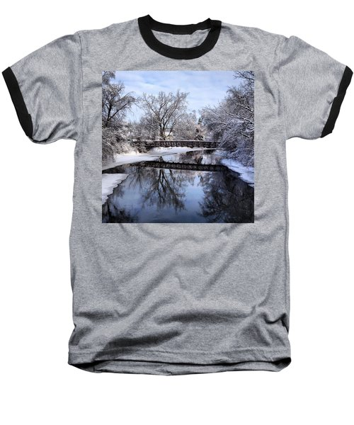 Pine River Foot Bridge From Superior In Winter Baseball T-Shirt
