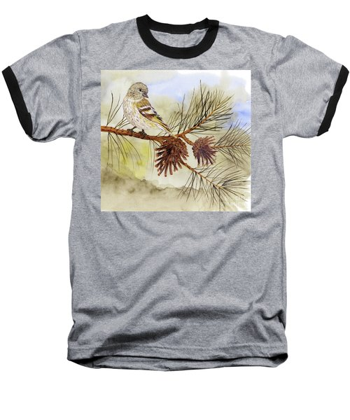 Pine Siskin Among The Pinecones Baseball T-Shirt by Thom Glace