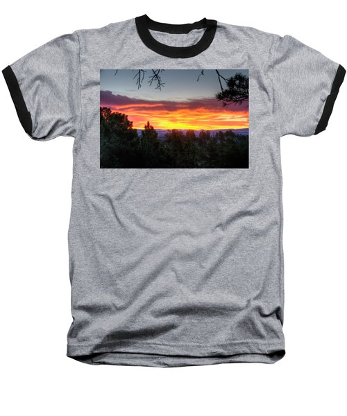 Pine Sunrise Baseball T-Shirt by Fiskr Larsen