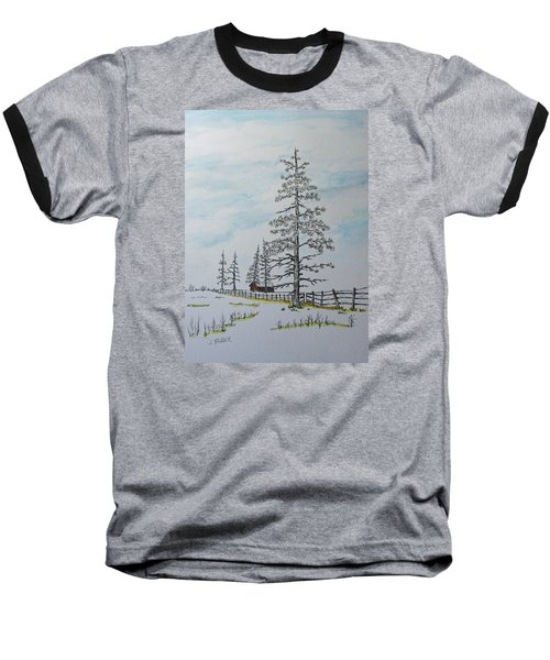Baseball T-Shirt featuring the painting Pine Tree Gate by Jack G  Brauer