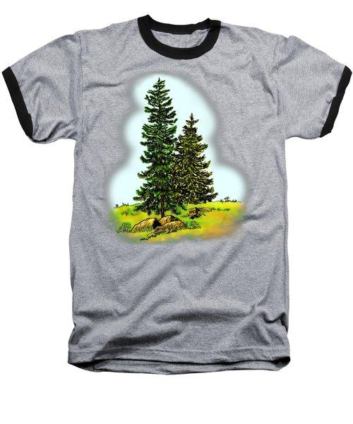 Pine Tree Nature Watercolor Ink Image 2         Baseball T-Shirt