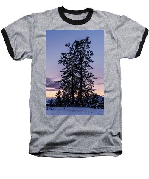 Pine Tree Silhouette    Baseball T-Shirt