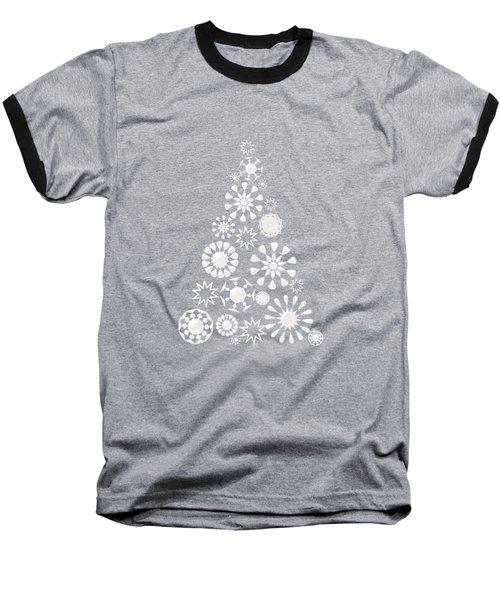 Pine Tree Snowflakes - Dark Blue Baseball T-Shirt