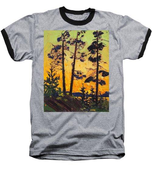 Pine Trees At Sunset Baseball T-Shirt
