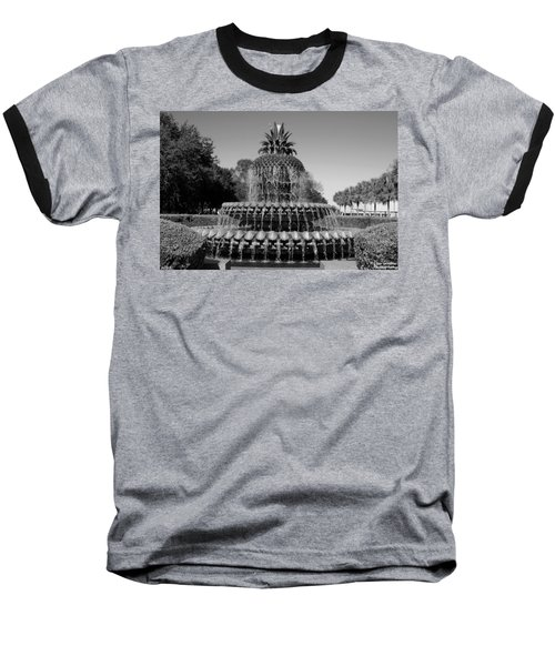 Pineapple Fountain Charleston Sc Black And White Baseball T-Shirt