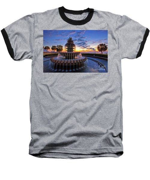 The Pineapple Fountain At Sunrise In Charleston, South Carolina, Usa Baseball T-Shirt by Sam Antonio Photography