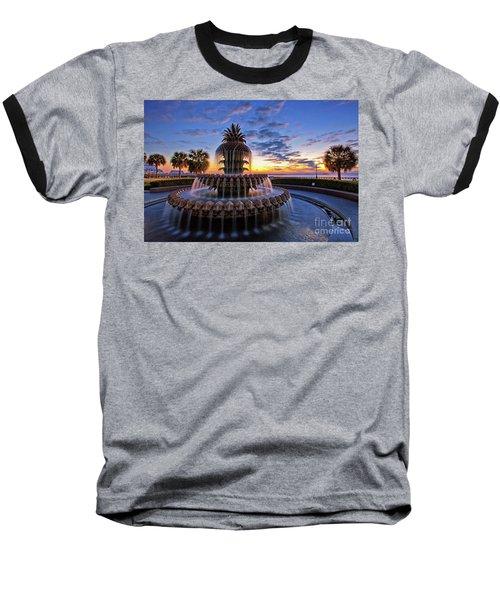 The Pineapple Fountain At Sunrise In Charleston, South Carolina, Usa Baseball T-Shirt
