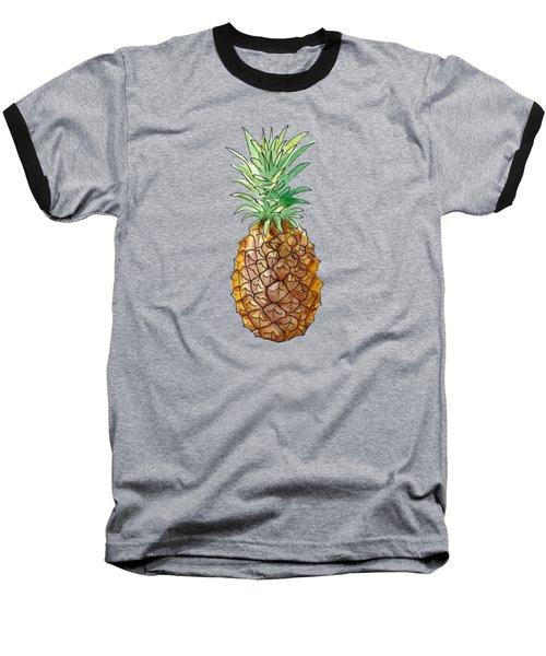 Pineapple On Black Baseball T-Shirt