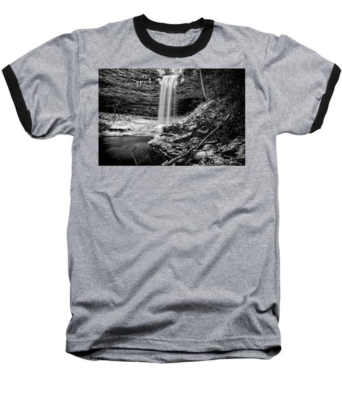 Piney Falls In Black And White Baseball T-Shirt