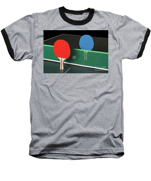 Ping Pong Paddles On Table, Standing Upright Baseball T-Shirt