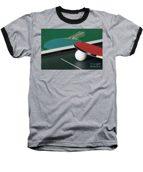 Ping Pong Paddles On Table With Net Baseball T-Shirt