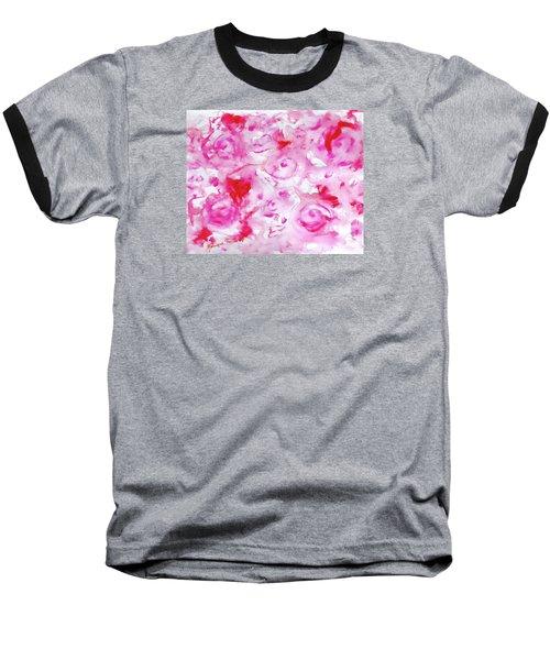 Pink Abstract Floral Baseball T-Shirt
