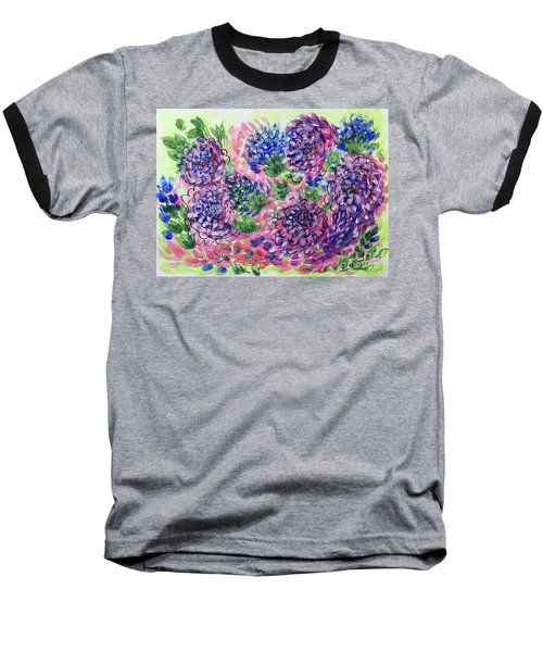 Pink And Blue Flower Flurry Baseball T-Shirt