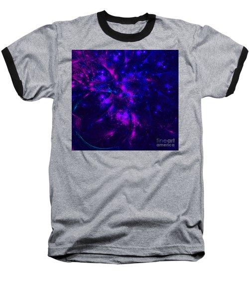 Pink And Blue Moss Fractal Baseball T-Shirt