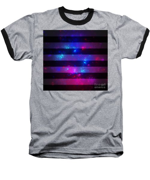 Pink And Blue Striped Galaxy Baseball T-Shirt