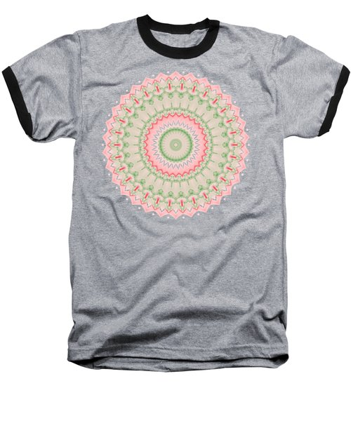 Pink And Green Mandala Fractal 004 Baseball T-Shirt