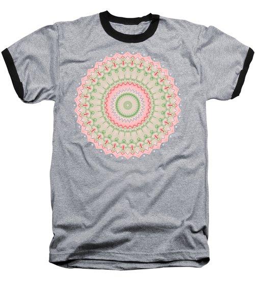 Pink And Green Mandala Fractal 004 Baseball T-Shirt