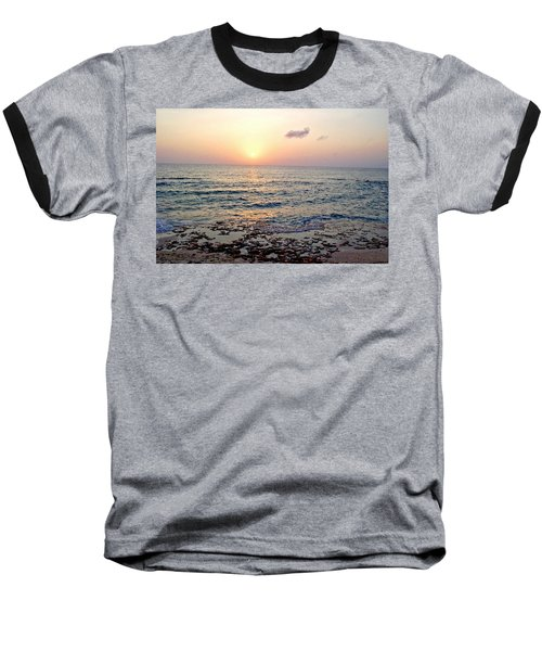 Baseball T-Shirt featuring the photograph Pink And Purple Sunset Over Grand Cayman by Amy McDaniel