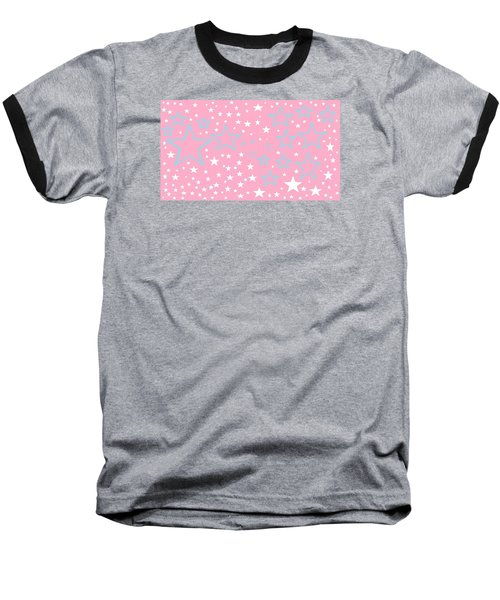 Pink And Turquoise Stars 1 Baseball T-Shirt by Linda Velasquez
