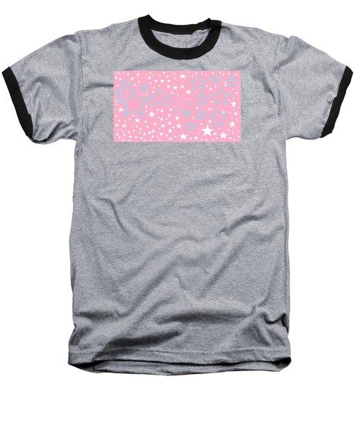 Pink And Turquoise Stars 1 Baseball T-Shirt