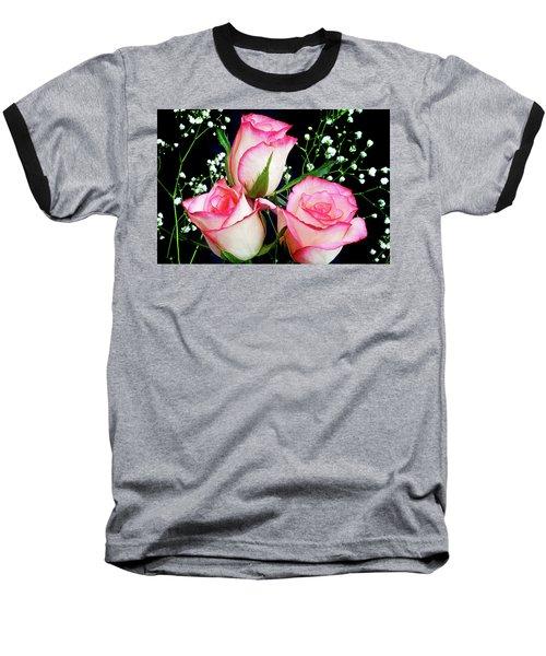Pink And White Roses Baseball T-Shirt