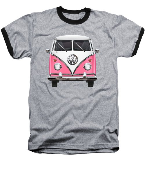 Pink And White Volkswagen T 1 Samba Bus On Yellow Baseball T-Shirt by Serge Averbukh