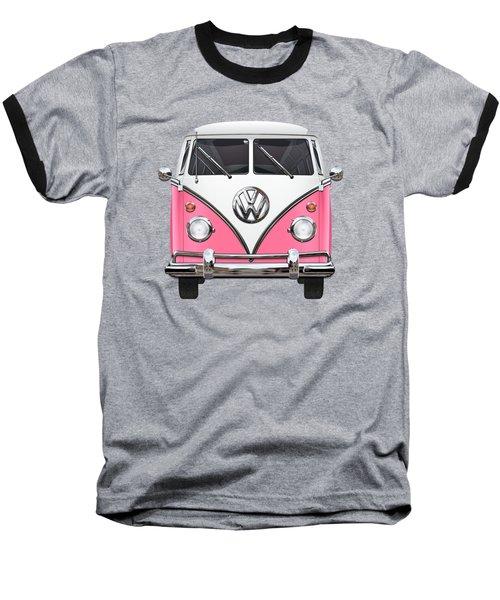 Pink And White Volkswagen T 1 Samba Bus On Yellow Baseball T-Shirt