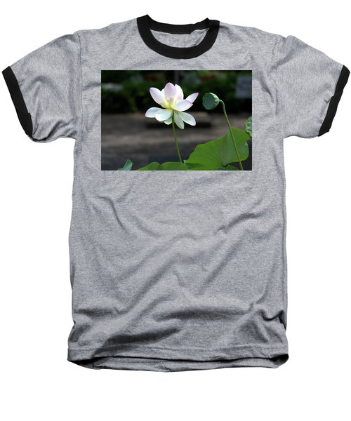 Pink And White Water Lily With Green Pod Baseball T-Shirt