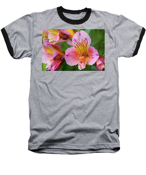 Pink And Yellow Flora Baseball T-Shirt