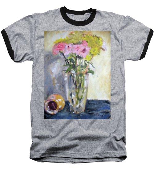 Pink And Yellow Flowers Baseball T-Shirt