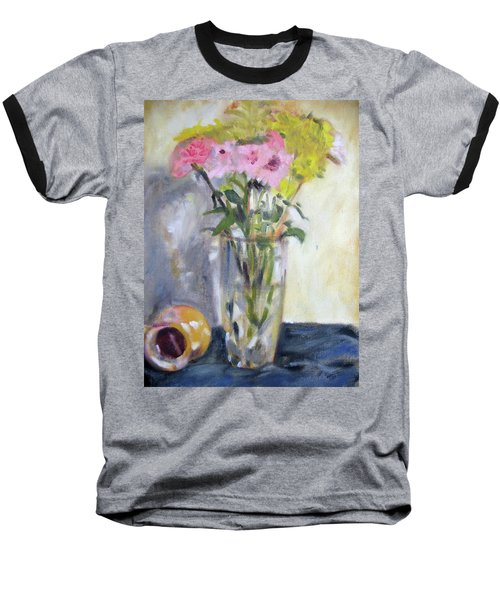 Pink And Yellow Flowers Baseball T-Shirt