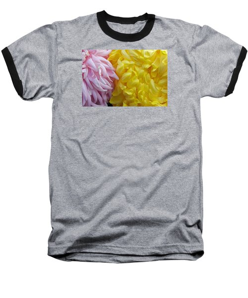 Pink And Yellow Mums Baseball T-Shirt by Jim Gillen